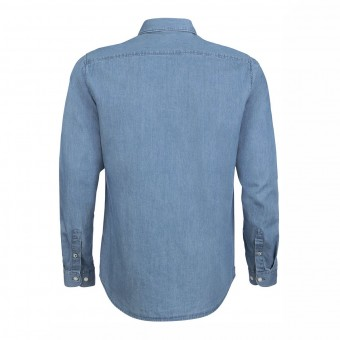 Wolff Vintage Men Hemd Mason Farbe Indigo Light Denim Material Cotton Biobaumwolle Fair Wear Ansicht Rückseite